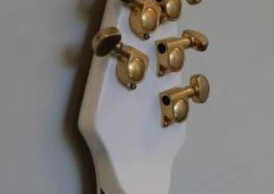 cool custom pure white electric bass guitar headstock tuners