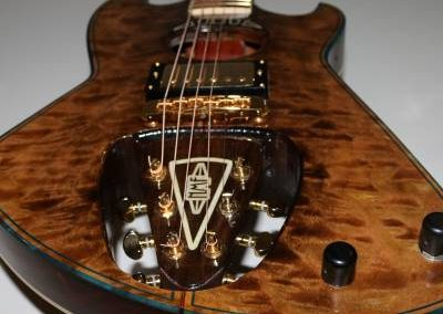ool custom dark wood electric guitar with backwards headstock for sale