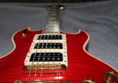 buy your own custom flame red electric bass guitar with three humbuckers