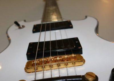 cool custom pure white electric bass guitar gold humbucker