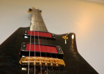 cool custom dark ocean blue electric bass guitar gold humbucker