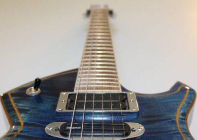 cool custom stripe blue electric bass guitar frets and humbucker