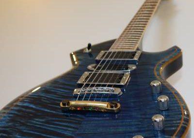 cool custom stripe blue electric bass guitar from custom guitar store