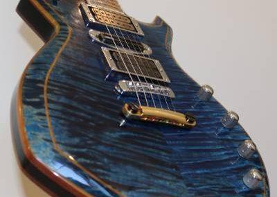 cool custom stripe blue electric bass guitar body