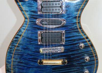 cool custom stripe blue electric bass guitar for sale